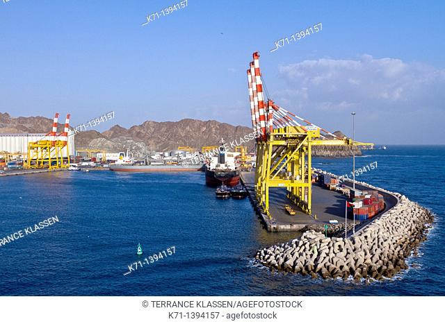 Container loading cranes in Port Sultan Qaboos in Muscat Oman