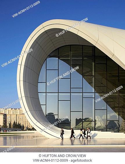 Heydar Aliyev Cultural Center, Baku, Azerbaijan. Architect: Zaha Hadid Architects, 2013. Detail of curved facade with GFRP envelope and glazing