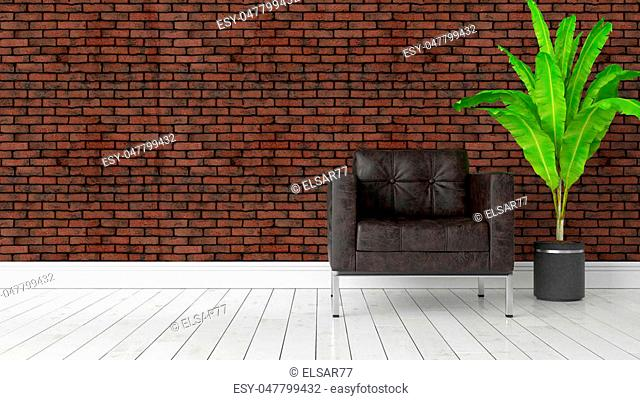 Beautiful modern interior with armchair. 3D rendering