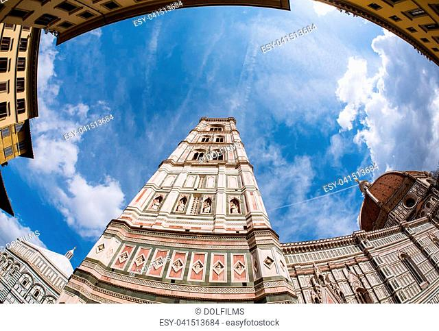 Wide angle view on the facade of the cathedral and campanille of Florence