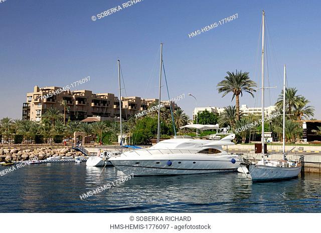 Jordan, Aqaba Governorate, Aqaba, marina, white sailboat docked