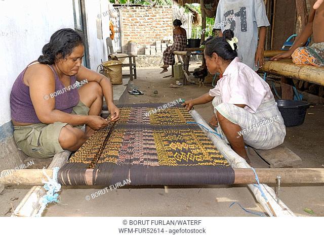 Weavers on Pantar Island, Alor Archipelago, Lesser Sunda Islands, Indonesia