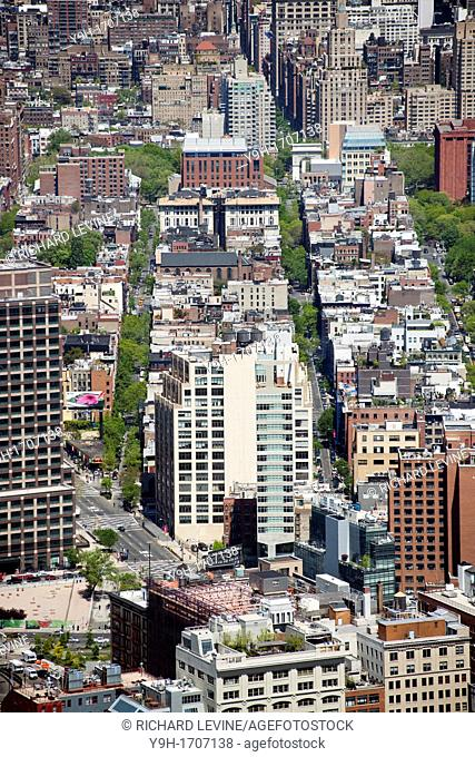 View of the Soho neighborhood of New York looking north from One World Trade Center