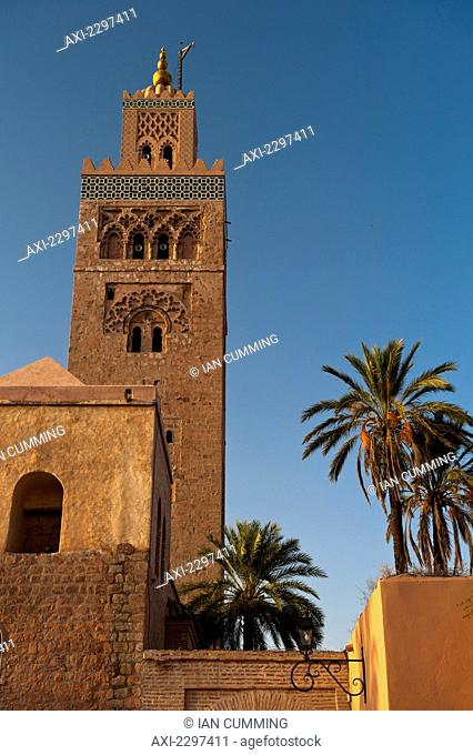 Minaret of Koutoubia Mosque at dawn; Marrakesh, Morocco
