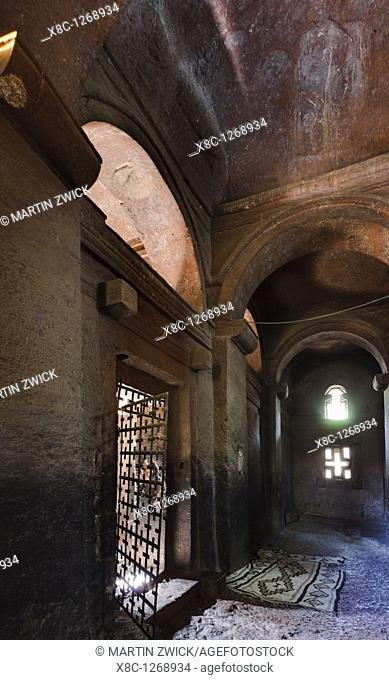 The rock-hewn churches of Lalibela in Ethiopia  The church Bet Medhane Alem, interiour with columns and vaults  Bet Medhane Alem is considered to be the largest...
