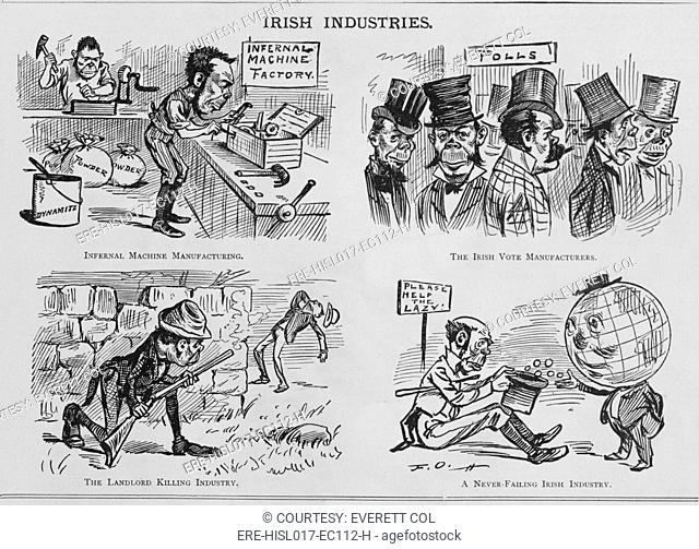 An Anti-Irish cartoon entitled IRISH INDUSTRIES, appeared in the American humor magazine PUCK in November 1881. Drawn by master cartoonist Frederick Opper...