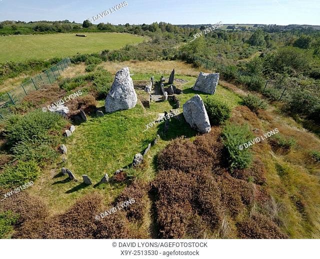 Landes de Cojoux, Saint-Just, Brittany, France. The excavated prehistoric barrow passage grave dolmen complex of Chateau Bu
