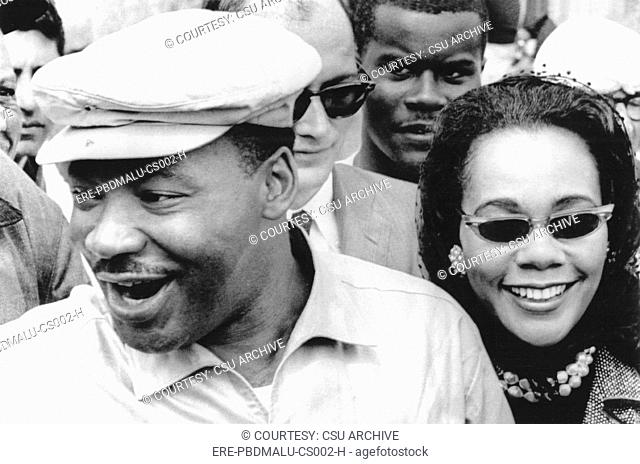 Martin Luther King Jr. and Coretta Scott King on the Selma-to-Montgomery freedom march, 3/24/65