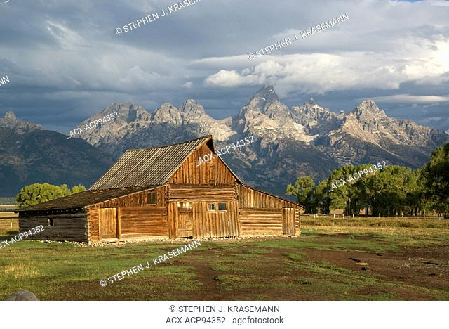 Norman Row Barn with Grand Teton Mountain Range in background, Grand Teton National Park, WY, USA