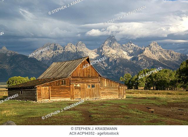 Norman Row Barn with Grand Teton Mountain Range in background, Grand Teton National Park, WY, USA