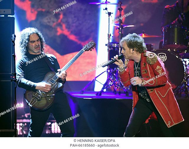 Singer Tobias Sammet (R) of music project Avantasia competes for the national preliminary decision for the 61st Eurovision Song Contest (ESC) in Cologne
