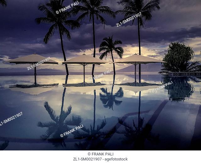 Palm tree reflections in resort pool at Wailea Beach, Maui, Hawaii, United States
