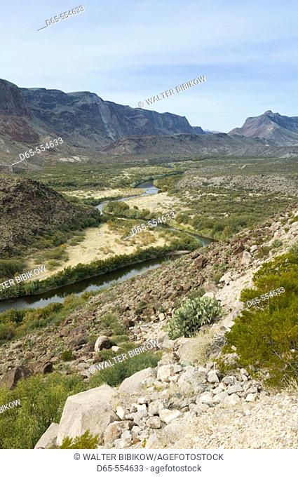 View of the Rio Grande River Valley at the Big Bend from Rt. 170. Big Bend Area. Presidio.Texas, USA