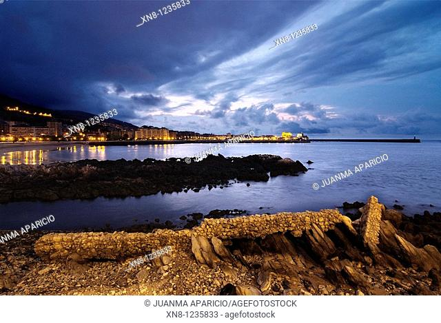 Night shots of Castro Urdiales, Spain, from Cotolino with Plimer stone remains of an ancient shipyard plan