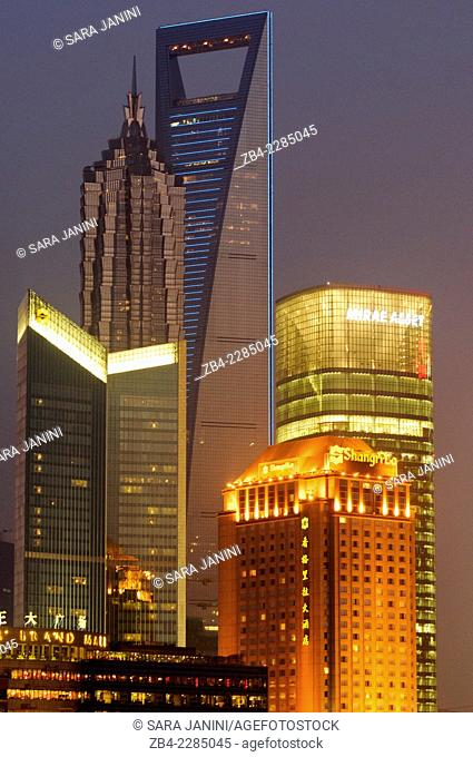 View of Pudong Business District Skyline (behind 'World Financial Center' and 'Jin Mao Tower') from the 'Bund' or 'Wai Tan', Shanghai, China, Asia