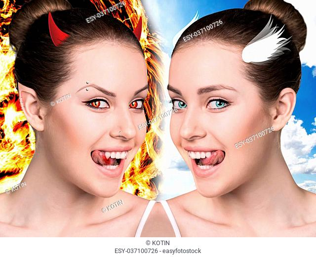 Two part of beautiful woman.Demon and angel. Good and evil concept