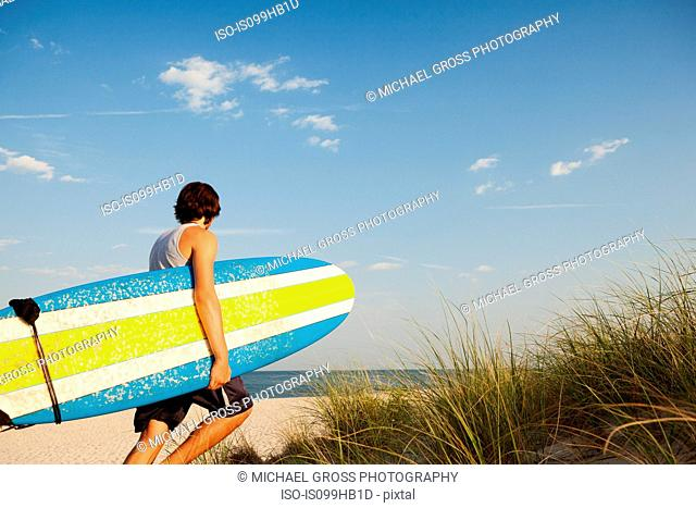 Teenager carrying surfboards to beach beside dunes