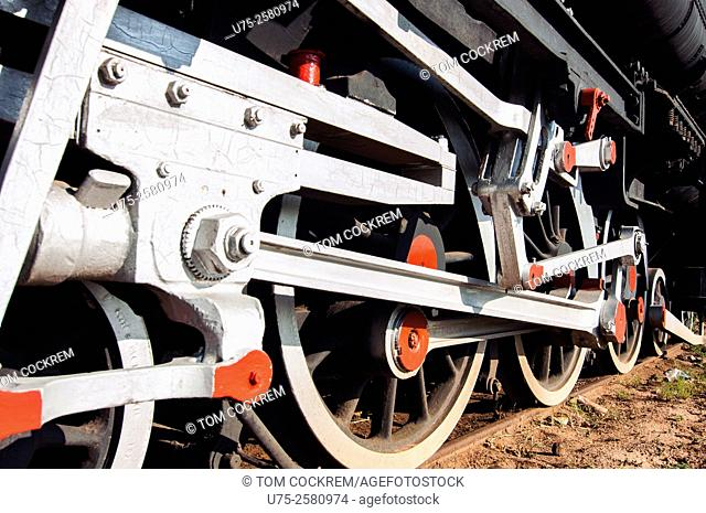 Steam train wheels, Railway Museum, Livingstone, Zambia