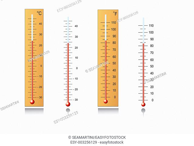 Thermometers for measuring temperature in vector format
