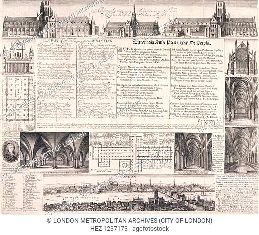 Plans of St Paul's Cathedral, London, 1658. Five exterior views, four interior views and two plans of the cathedral accompanied by a panorama of the City of...