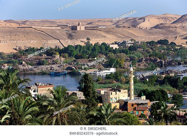 View on Nile River Landscape of Aswan, Egypt, Assuan