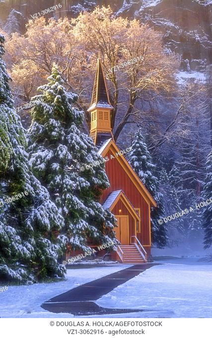 Early morning at the Yosemite Chapel following a spring snow