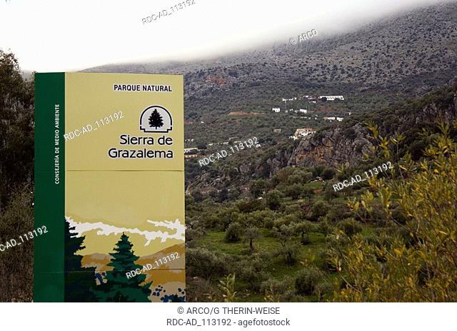 Sign of natural park Sierra de Grazalema Andalusia Spain