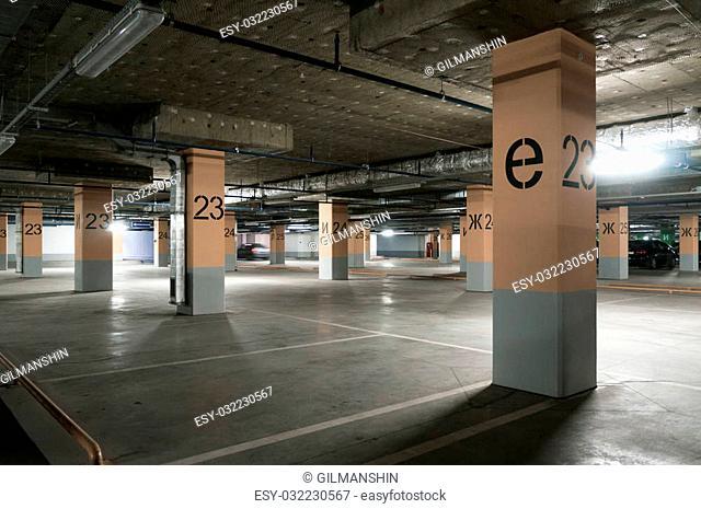 Underground garage - parking lot in a basement