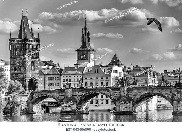 Charles Bridge in Prague, black and white postcard style