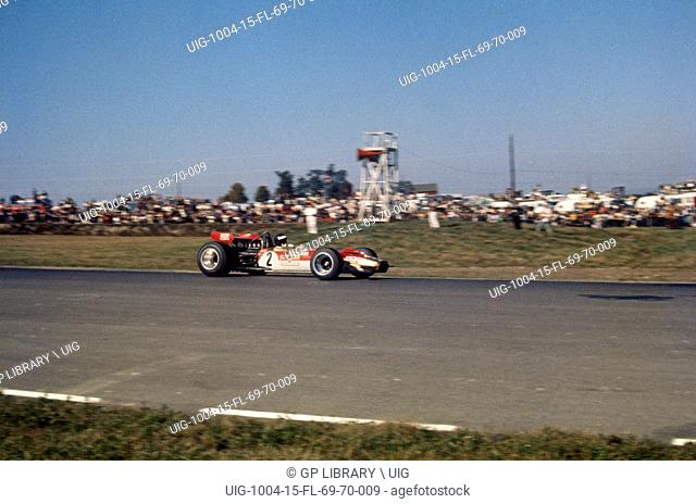 US GP, Watkins Glen, 5th October 1969. Jochen Rindt Lotus Cosworth 49B, race winner
