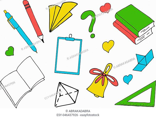 Back to school. A colored inscription on white with school supplies and books. Raster Illustration for Knowledge Day in September