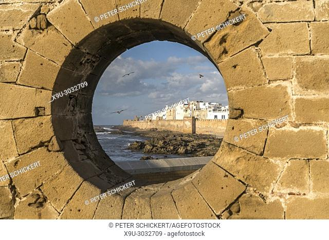 round window of the fortress Scala du Port and the medina in Essaouira, Kingdom of Morocco, Africa