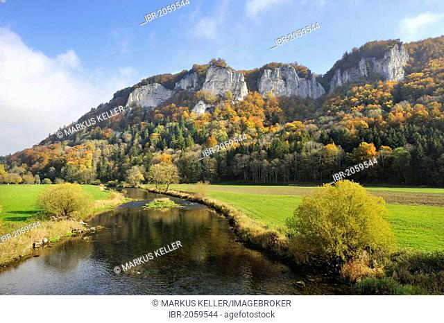 View across the Danube to Mt Hausener Zinnen in the autumnal Upper Danube Valley, Sigmaringen district, Baden-Wuerttemberg, Germany, Europe