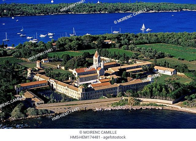 France, Alpes Maritimes, Lerins islands, Ile Saint Honorat, monastery aerial view