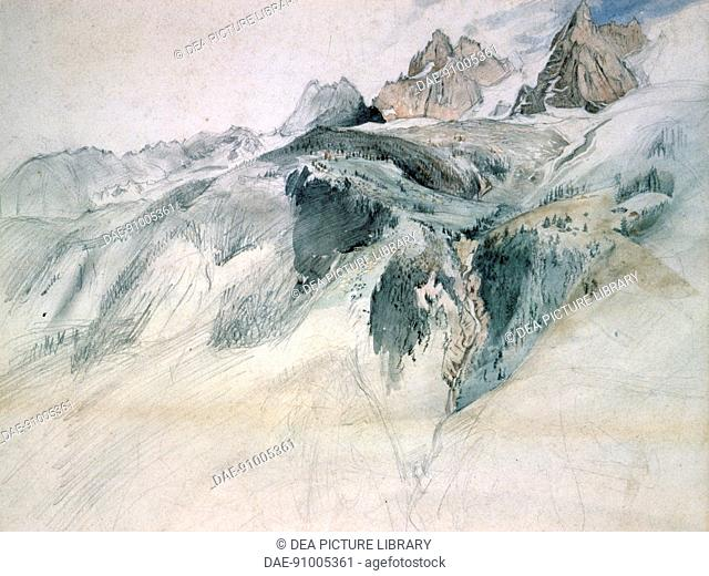 Chamonix, Aiguille Charmoz, from a window of the Union, 1849, by John Ruskin (1819-1900), pencil and ink.  Bembridge, Ruskin Galleries (Art Gallery)