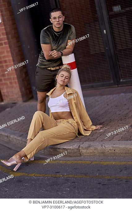 Australia, Adelaide, Fashion Bloggers Sarah Jeavons and Reno Marrasso on street, couple, thoughtful, cool attitude, relationship, sensitive, feelings