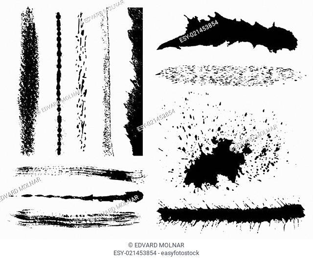 Set of grunge ink brush strokes (vector EPS)