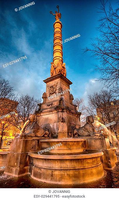 Paris. Place de la Bastille at Night