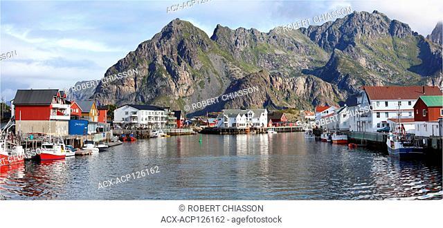 Small fishing village of Henningsvaer located in the Municipality of Vestvagoya, Lofoten Archipelago, Norway