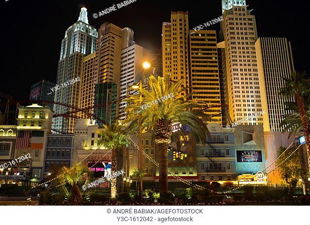 New York New York Hotel Las Vegas at night