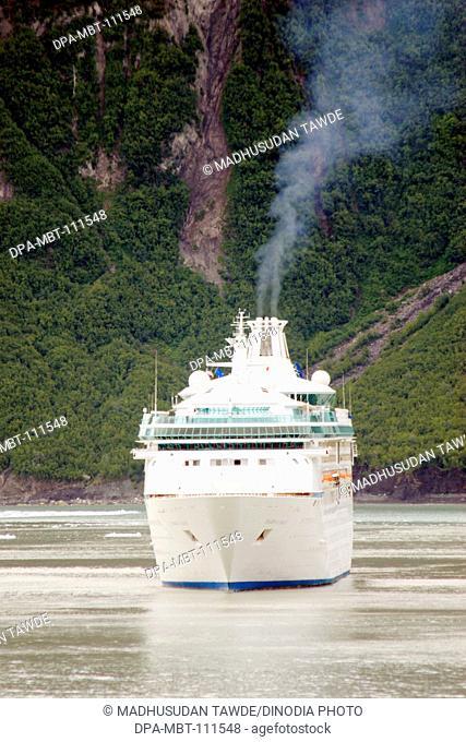 Cruise ship at Hubbard glacier ; the longest tidewater glacier in Alaska; Saint Elias  national park ; disenchantment bay ; Alaska ; U.S.A