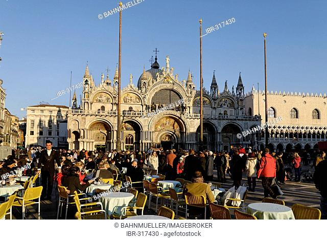 Piazza San Marco with cafes Venice Venezia Italy