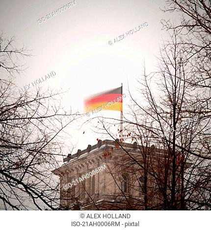 German flag over Reichstag