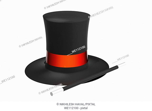 Magician's hat and wand
