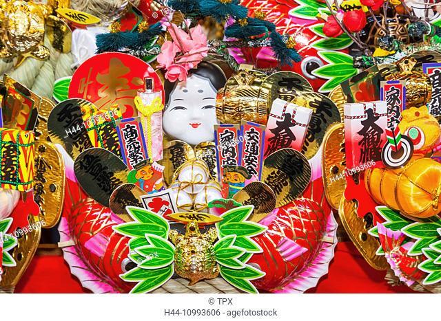 Japan, Honshu, Tokyo, Asakusa, Tamahime Inari Shrine, Kutsun-no-megumi Festival, Traditional Goodluck Rakes