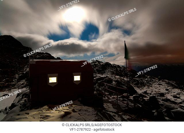 Full moon night at Bottani-Cornaggia hut, Cech, Lombardy, Italy