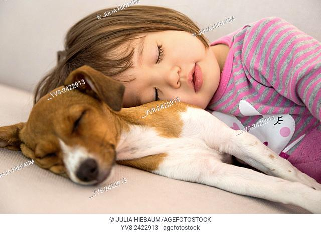 Toddler girl sleeping next to mixed breed puppy dog