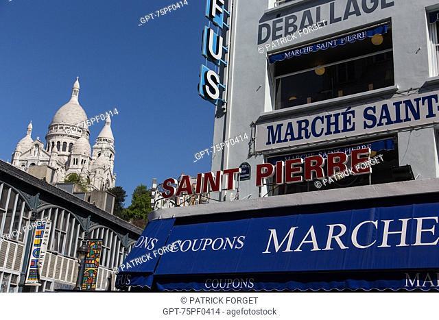 DOMES OF SACRE COEUR BASILICA AND THE SAINT-PIERRE DREYFUS FABRICS MARKET, RUE LIVINGSTONE, 18TH ARRONDISSEMENT, PARIS, FRANCE