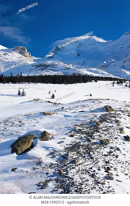 Mount Athabasca 3,491 m 11,453 ft from the glacial plain of the Sunwapta River, Jasper National Park Alberta Canada