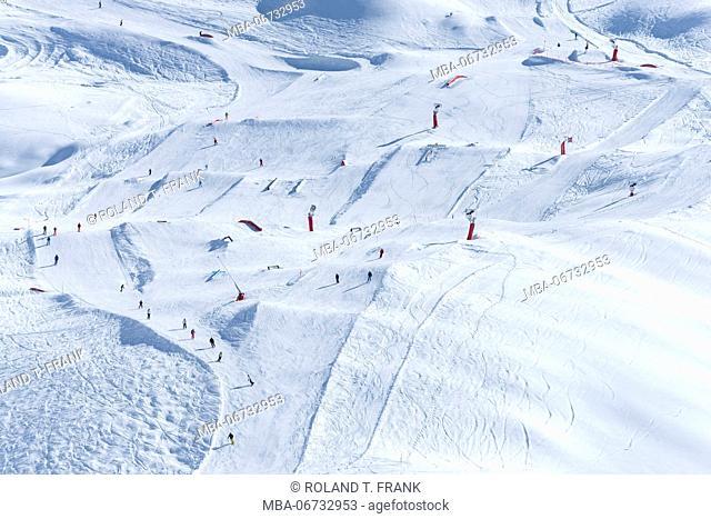 Austria, Montafon, skiing area Silvretta Montafon, view to the Snowpark Montafon